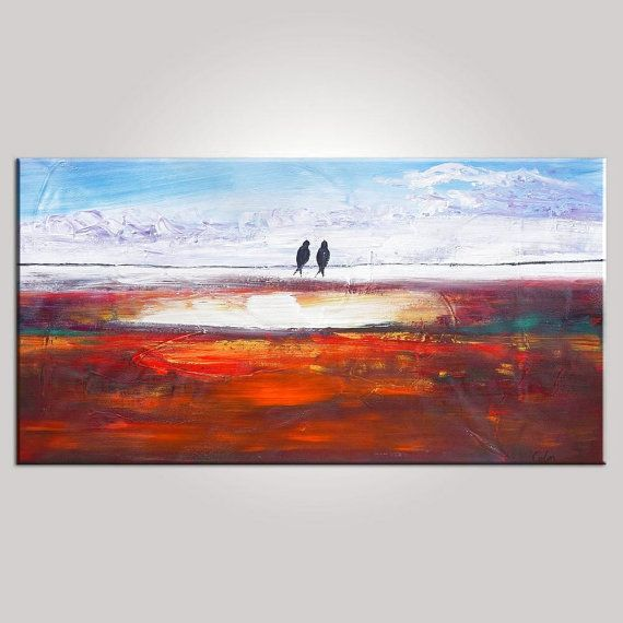 Palette Knife Oil Painting Large Painting Wall Art Singing Birds Painting Canvas Art Framed Art Abstract Art Impasto Texture Oil Painting