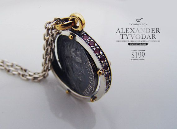 Moving antique coin black coin  ancient coin Necklace by TYVODAR