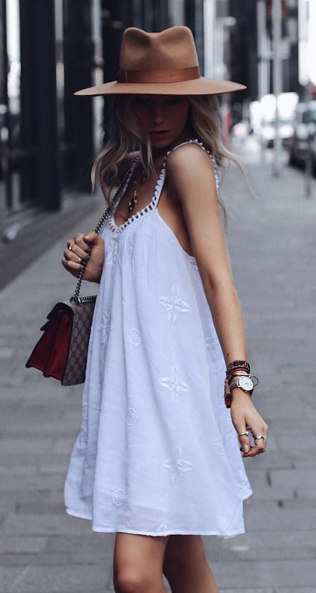 How To Style A White Dress Bag Brown Slides Hat Casual Summer Dresses Fashion Summer Outfits Women