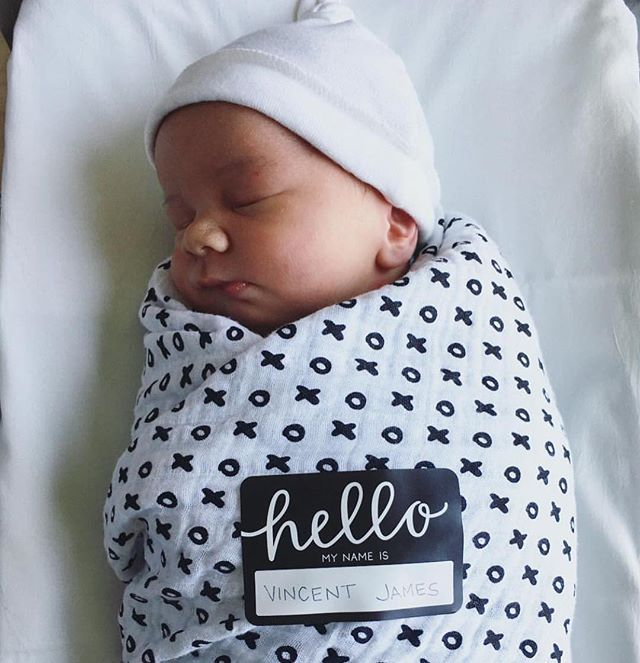 Welcome to the world Vincent! Sweet newborn birth announcement with Modern Burlap's XO swaddle. Shop it at www.modernburlap.com!