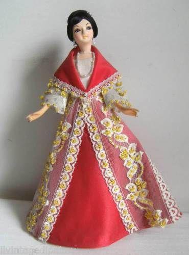 Vintage-Bambola-etnica-souvenir-MANILA-FILIPPINE-DONNA-30cm-Folk-Costume-DOLL