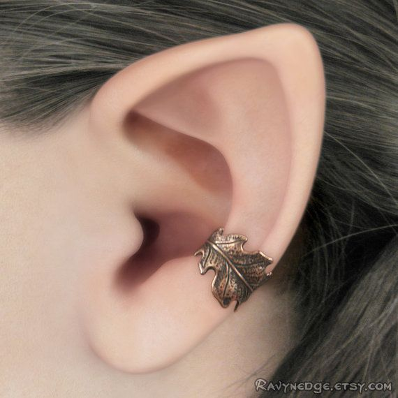 Druid's Treasure Ear Cuff  Copper Oak Leaf by RavynEdge on Etsy, $15.00