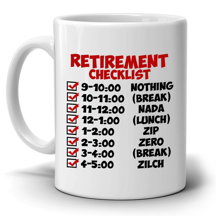 Funny Retirement Gift Checklist Coffee Mug, Perfect Humor Present Ideas for Coworker Party Invitations, Printed on Both Sides!