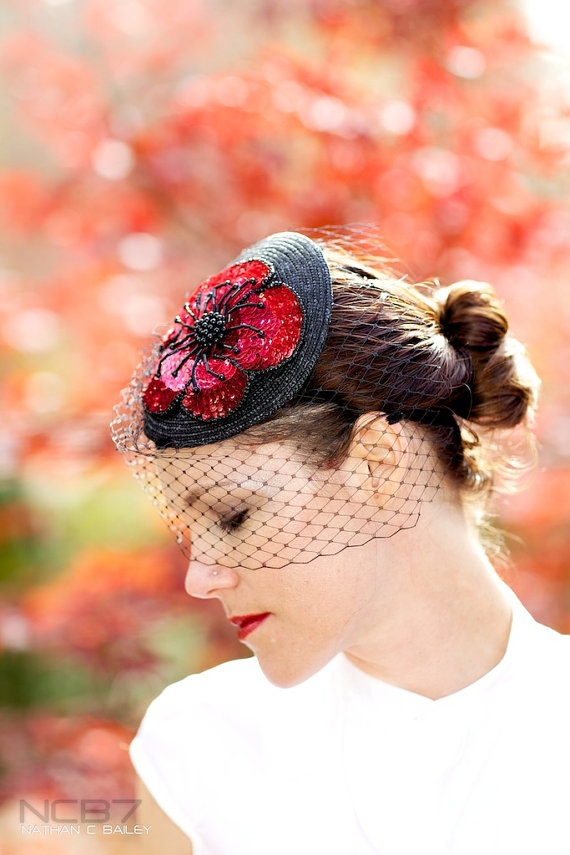 Juliette - vintage red sequin flower with netting veiling fascinator hat