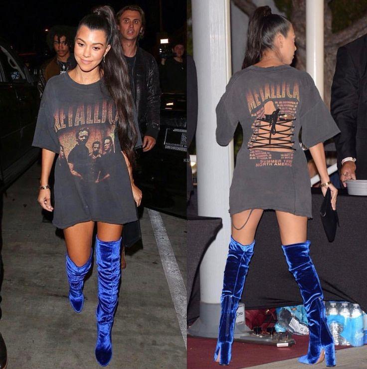 Kourtney Kardashian. Thigh high boots. Blue velvet boots. Band tshirt. Tshirt dress. Long high sleek ponytail.