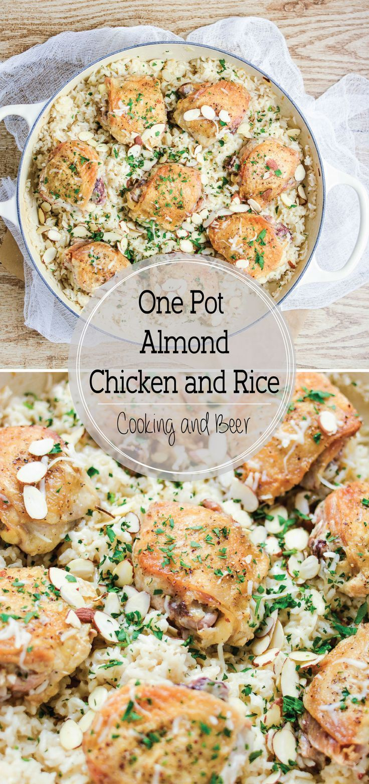 One Pot Almond Chicken and Rice is cheesy, flavorful, and loaded with almond! It's quick and simple, thus making it the perfect weeknight meal! #ad @AlmondBreeze