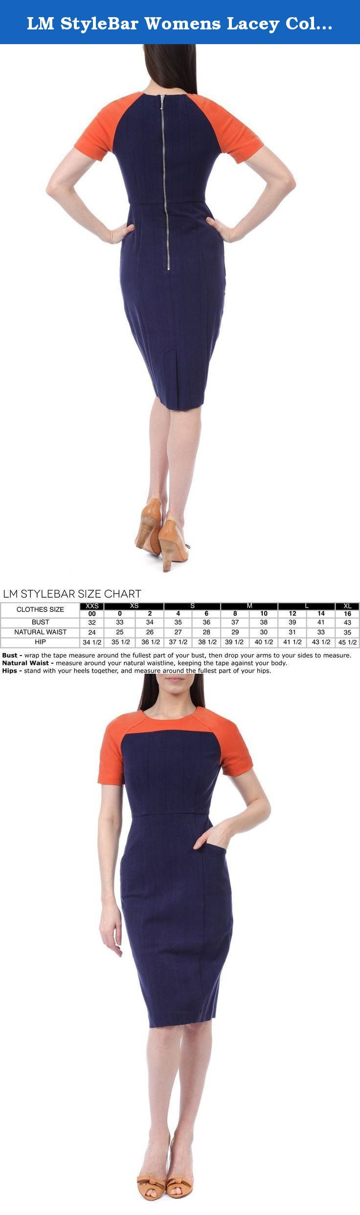 """LM StyleBar Womens Lacey Color Blocked Dress with Stretch 12 Navy & Orange. You won't want to take this dress off! Made of a Tencel (an all natural fiber) 4 - way stretch fabric, this fabric has supreme breathability and comfort. Did we mention with fabric is naturally wrinkle resistant? Meant to hit just below the knee to elevate and elongate your look. Overall length for size 6 is 42"""". Contrast color block yoke and raglan short sleeve. Dry clean. Imported."""