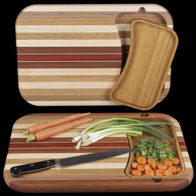 Hardwood Cutting Board with Removable Hardwood Tray