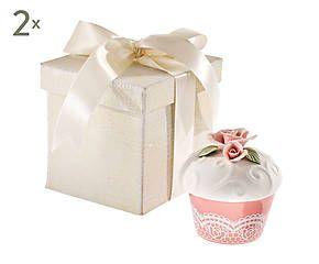 Set di 2 contenitori in porcellana con rosa a rilievo Muffin - h 7 cm