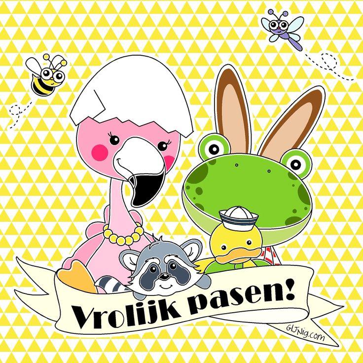 Maak er een fijn, liefdevol lang weekend van! #pasen #illustratie #baby #flamingo #kikker #eend #wasbeer #bij #libelle #babykamer #babyshower #gijnig.com