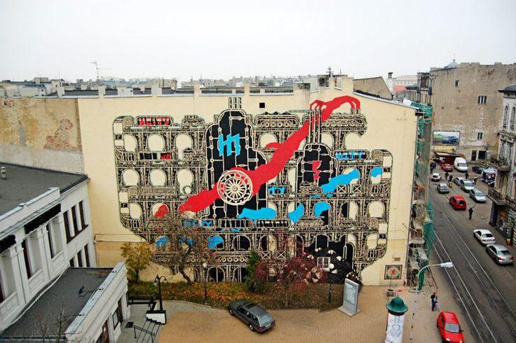 Poland, Lodz, Murals, ul. Legionów 19