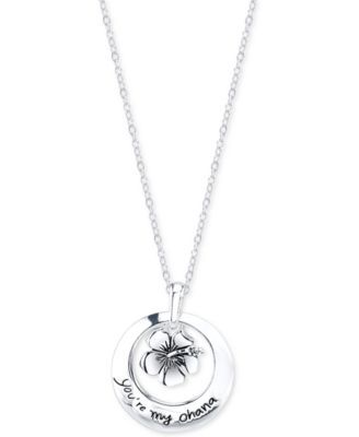Disney Lilo and Stitch Ohana Pendant Necklace in Sterling Silver