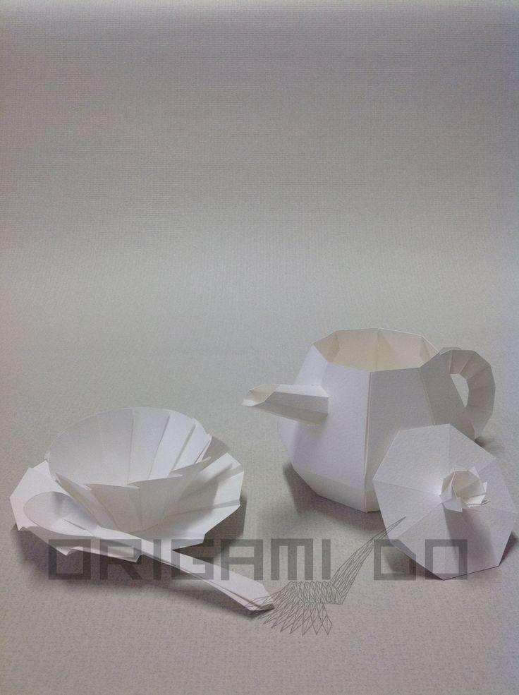 Origami Teiera, Tazzina e Cucchiaino