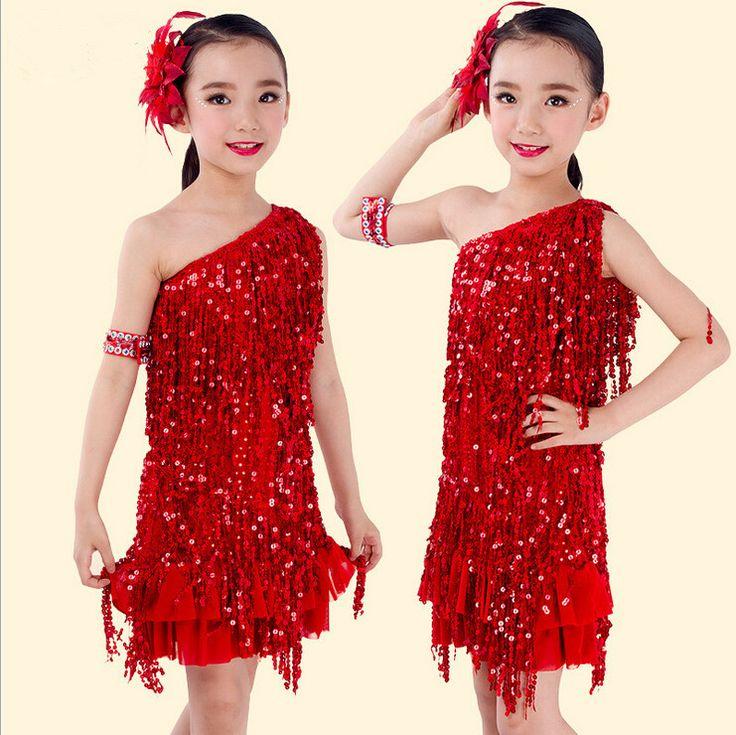 Child latin performance wear Sling Sequin kids latin dance costume Tassels children dancing dress girl dance clothing S/M