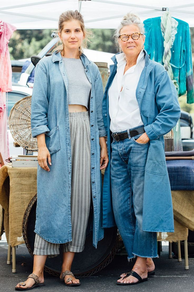 """27 Rad Street-Style Snaps From L.A.'s Rose Bowl Flea Market #refinery29  http://www.refinery29.com/2015/05/87815/rose-bowl-flea-market-street-style-pictures#slide-18  Name: Jenni Williams (left) and Rosemary Warren (right)Job: Co-Owners, Market VintageWilliams is wearing a vintage Orvis denim duster and Carole Little pants with a cotton top.Best flea market buy to date: """"An L.A. Occidental College yearbook from 1959. The images of classmates and their style of the time was right on ..."""