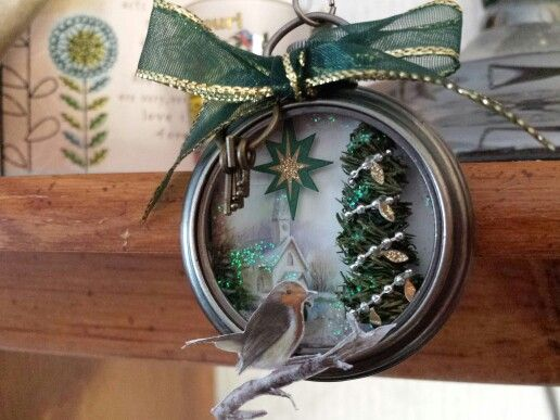 "Christmas ""altered pocket watch"" ornament."