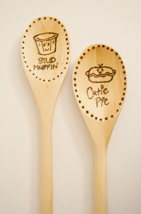 Stud Muffin/Cutie Pie Wood Burned Spoons by TheGoosesNest on Etsy, $7.00