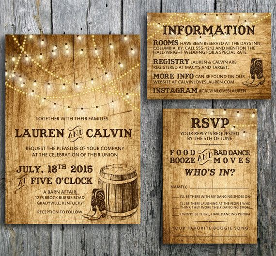 "Love this Country Western themed wedding invitation set! Rustic wedding invitation called ""Love in Boots"" is decorated with string lights, boots and a barrel over a wood background. Set the mood for your country western wedding with this invitation set. By LangDesignShop via Zazzle"