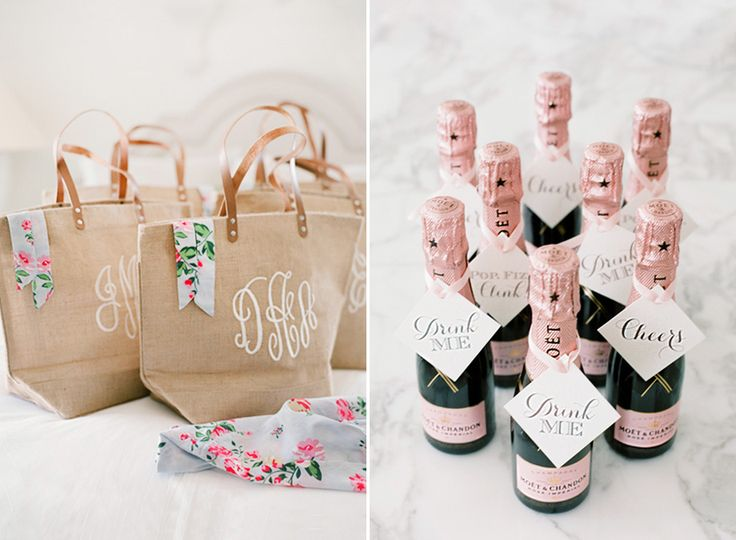 Monogrammed tote bags and mini champagne bottles make for perfect bridal shower party favors