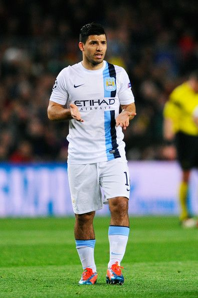 Sergio Aguero of Manchester City reacts during the UEFA Champions League Round of 16, second leg match between FC Barcelona and Manchester City at Camp Nou on March 12, 2014 in Barcelona, Catalonia.