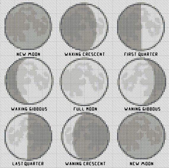 Moon Phases Cross Stitch Pattern Simple & Fun PDF