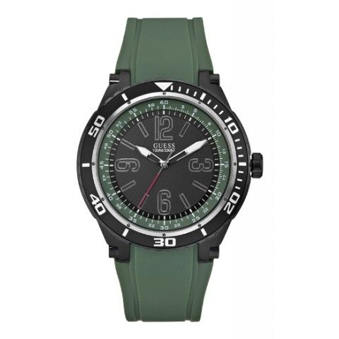 Guess Mens Marathon Black/Green Silicone Watch