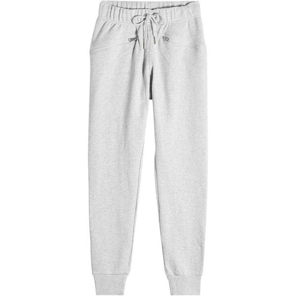 Adidas by Stella McCartney Cotton Sweatpants ($96) ❤ liked on Polyvore featuring activewear, activewear pants, grey, cotton sweat pants, workout sweat pants, gray sweatpants, sweat pants and adidas sweatpants