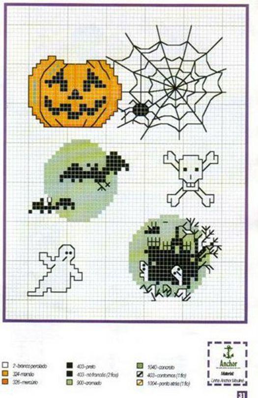 Halloween cross stitch pumpkin spider webs bats skull cross bones ghost haunted house