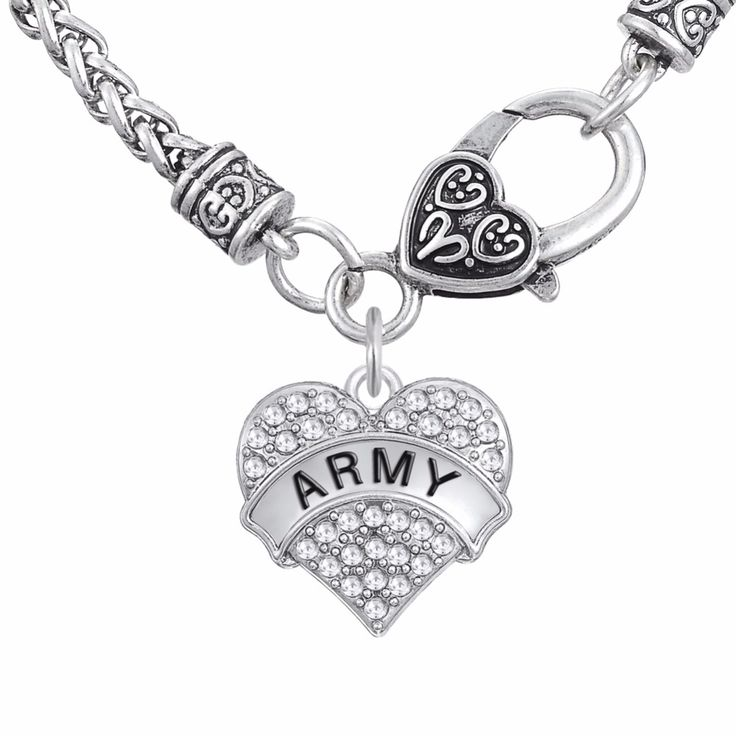 Military Jewelry ARMY & ARMY BRAT  DAUGHTER SISTER   MOM GIRL Fashion Crystal Heart Pendant Necklaces Jewelry Necklaces