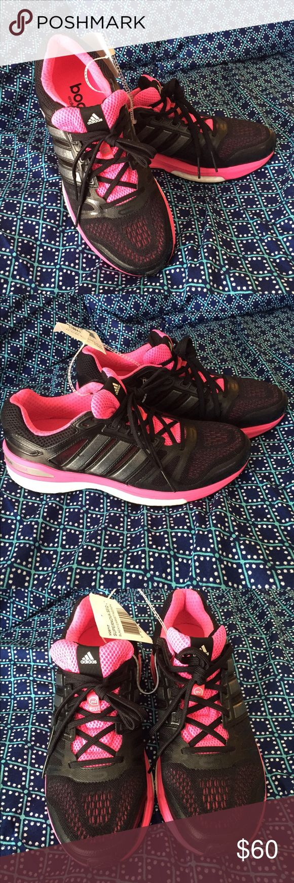 Adidas Supernova Sequence Boost Black and Pink Adidas Supernova.                    The Adidas Supernova Sequence retains signature cushioning and stability overpronators have come to expect that is now enhanced with signature Boost technology. A stretch fit seamless upper hugs the foot for a comfortable yet breathable fit while dual density in the midsole provides stability for those who need it. Boost has proven to be more durable lightweight and had more bounce and resiliency than…