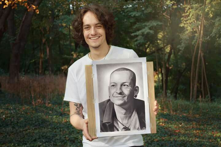 Me with my first better work.   Get the original Chester Bennington portrait drawing or print at  https://www.etsy.com/listing/550273141/chester-bennington-original-tribute?ref=shop_home_active_4