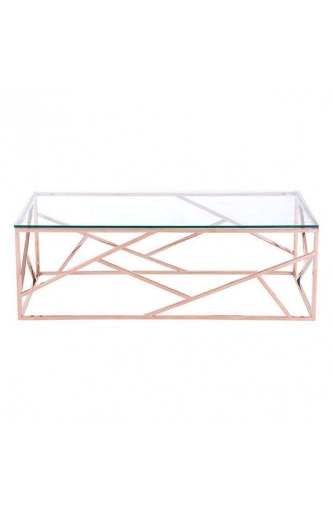<p>Slim and sleek perfection as a stunning Cage coffee table is created with slim angled strip designs and finished with clear tempered glass top. Cage occasional collection includes side, coffe table in both stainless steel and rose gold finishes.</p> <p>See last image for the dimensions.</p>