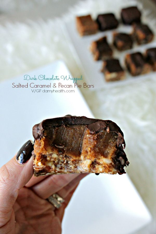 Oh this recipe makes me excited! These Dark Chocolate Wrapped Salted Caramel & Pecan Pie Bars are simply divine.