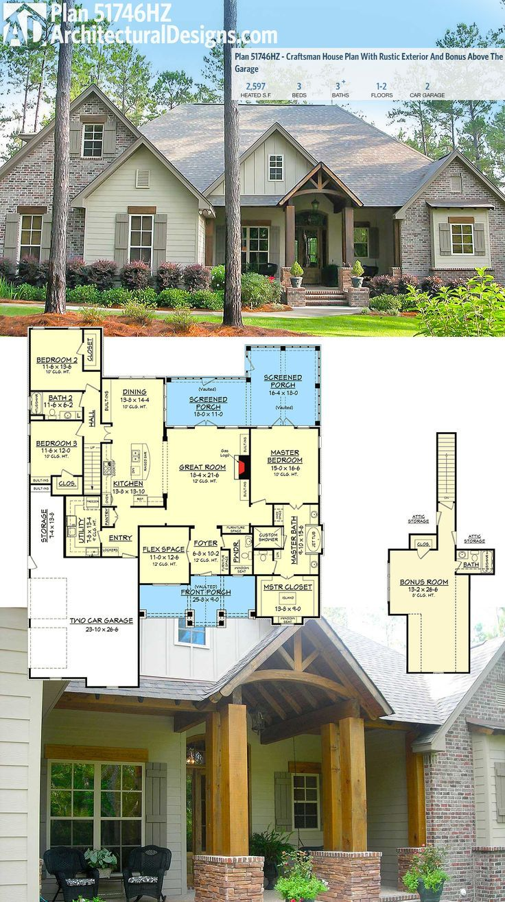 Architectural Designs Craftsman House Plan 51746HZ has a rustic exterior of stone and wood, and a timbered entry.