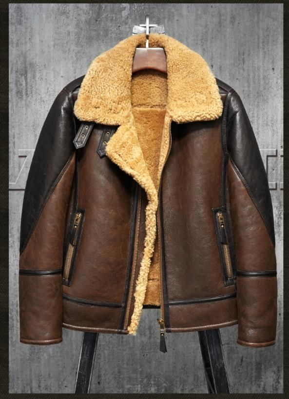 5d67ecb81aa Denny Dora Men s Shearling Leather Jacket Light Brown B3 Jacket Men s Fur  Coat Aviation Original Flying Jacket