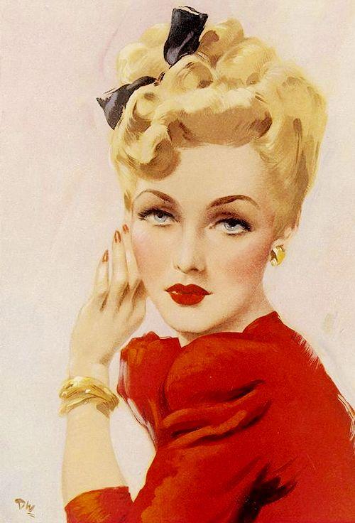 "fancydancynancy:  vintagegal:  ""Dream Girl"" by David Wright, 1946  ❤ Vintage Wonderland❤"