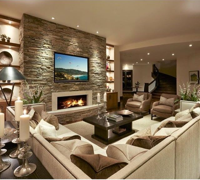 Image Result For Living Room Entertainment Wall Ideas Living Room With Fireplace Contemporary Living Room Design Family Room Design