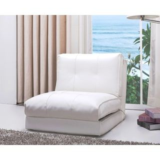 Abbyson Jackson White Leather Single Sleeper Chair | Overstock.com Shopping - The Best Deals on Living Room Chairs