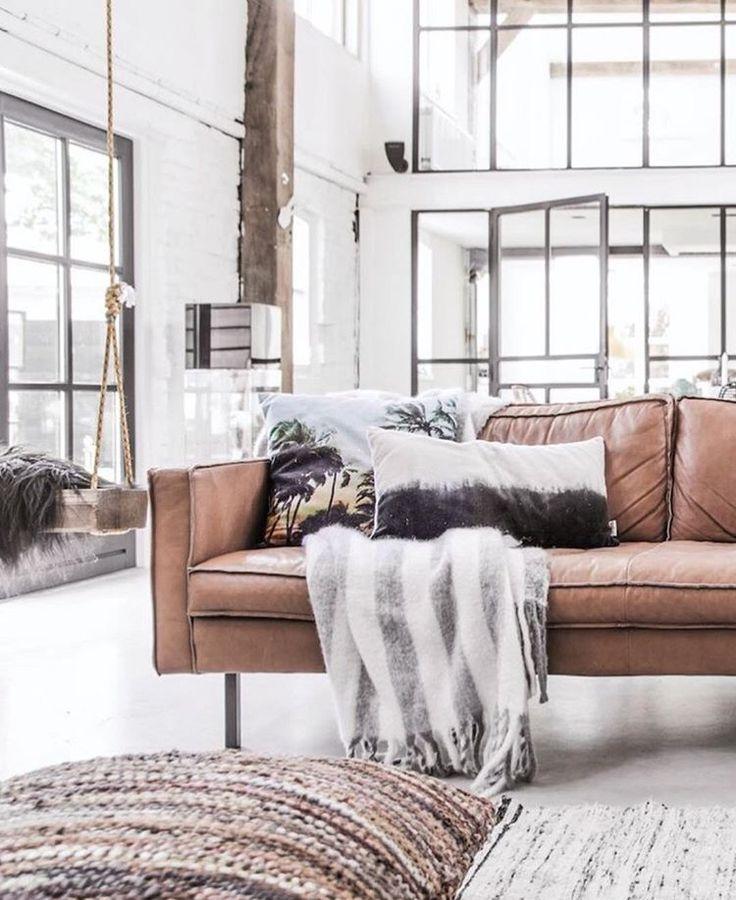 Neutral home. #leather sofa  #livingroom