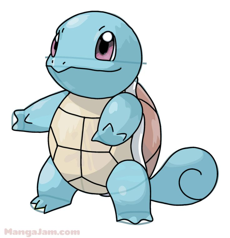 Squirtle (Japanese: ゼニガメ Zenigame) is a Water-type Pokémon.It evolves into Wartortle starting at level 16, which evolves into Blastoise starting at level 36. How to Draw Squirtle from Pokemon step by step via MangaJam.com  Water Pokemon can be found near places with water—river, streams, lakes harbors or the beach. There are 32 water-type Pokemon featured in Pokemon Go, including Squirtle, Wartortle, Blastoise. There are 126 Water-type in the Pokemon database. http://pokemondb.net/type/water
