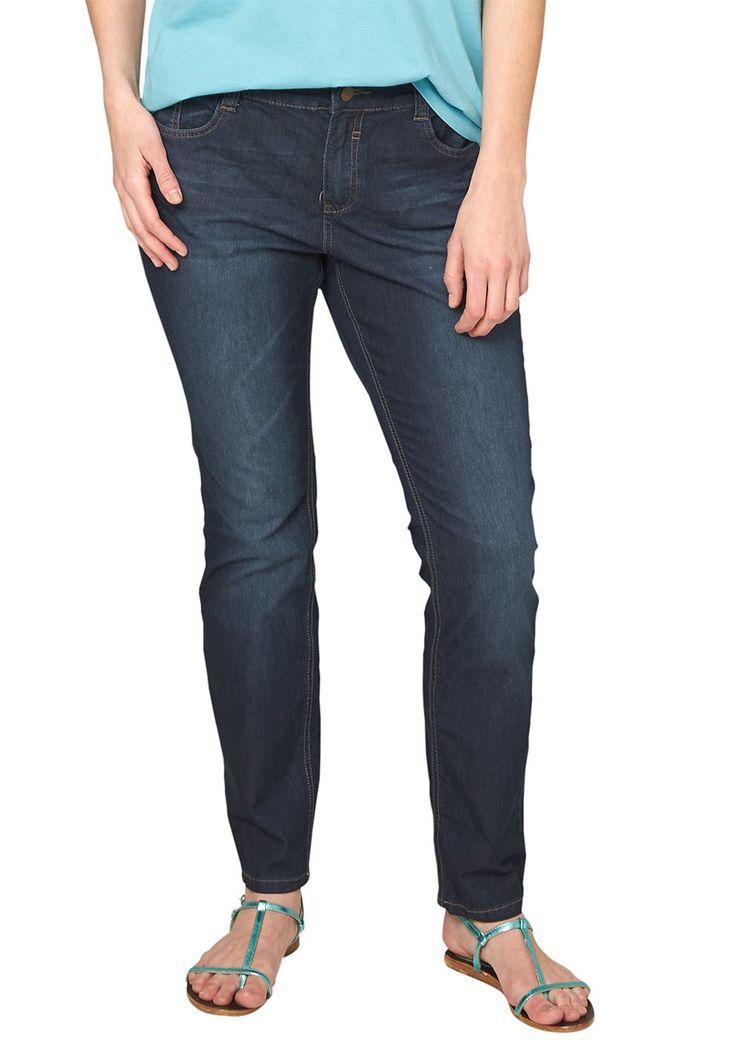 """Jeans Leichte Jeans mit Sitzfalten-Effekten in der Waschung. Hosenknopf im Antik-Look. Klassische 5-Pocket-Form mit Reißverschluss. Figurbetonte Passform """"Kurvig"""" mit leicht vertieftem Bund und extra schmalem Bein für eine ausgeprägte Hüfte, einen runden Po und stärkere Oberschenkel. Extra weiche, elastische Denim-Qualität aus Baumwollmix. Dank der ausgewogenen Materialmischung ist die Hose ang..."""