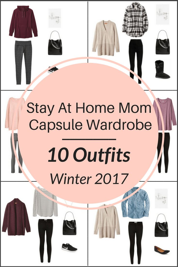 A preview of The Stay At Home Mom Capsule Wardrobe On a Budget- 10 Winter Outfits e-Book: all the casual and comfortable, yet functional outfits for the winter season, like a hoodie, sweatshirt, yoga pants, leggings, sweater, plaid shirt, tunic top, jegging jeans and skinny jeans.