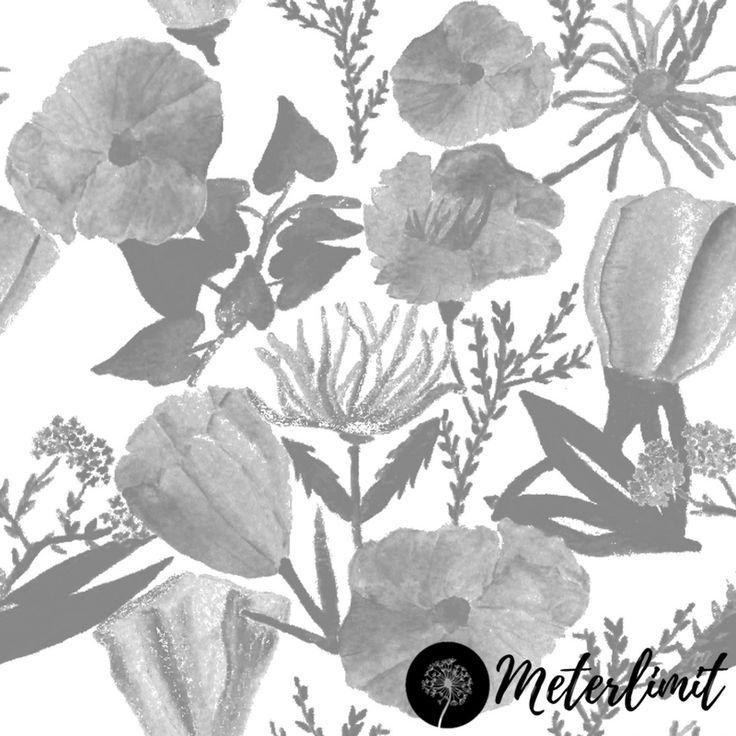 #102 Blumenwiese schwarz weiß Meterlimit Jersey Stoff Produktbild