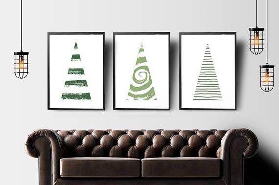 Christmas decorations set of 3 prints christmas tree sign