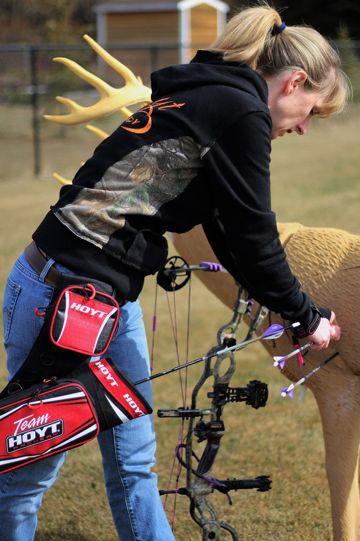Heather Wilson, Co-Host of Canadian Outdoorsman TV putting in a little backyard practice time with her Hoyt.