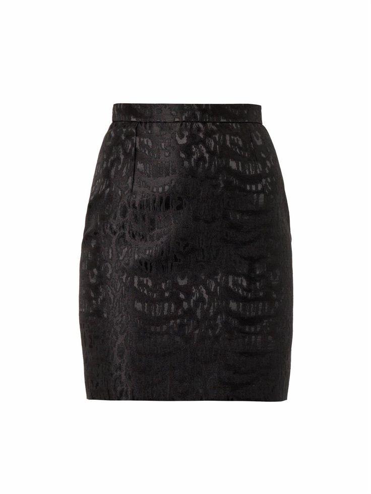 Saint Laurent Leopard-jacquard short pencil skirt