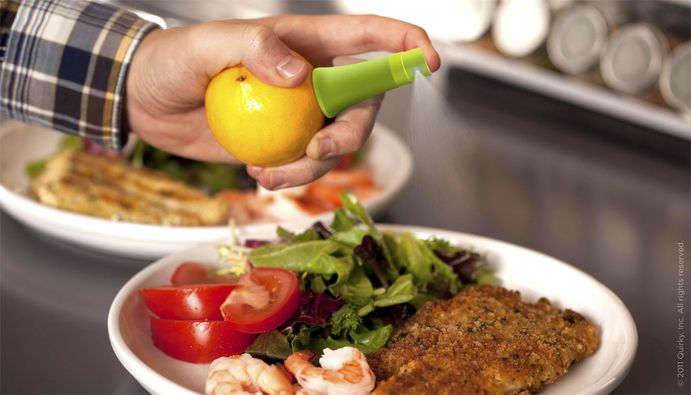 Stem is designed to allow a cook to spray juice directly from a citrus fruit.