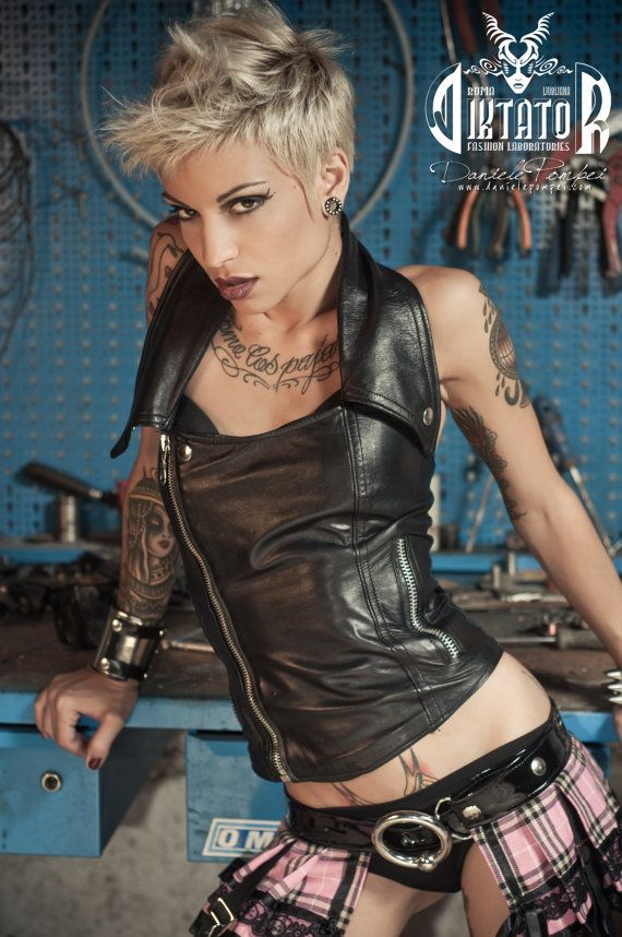 Hey, I found this really awesome Etsy listing at https://www.etsy.com/listing/124514347/black-rocker-biker-leather-halter-top