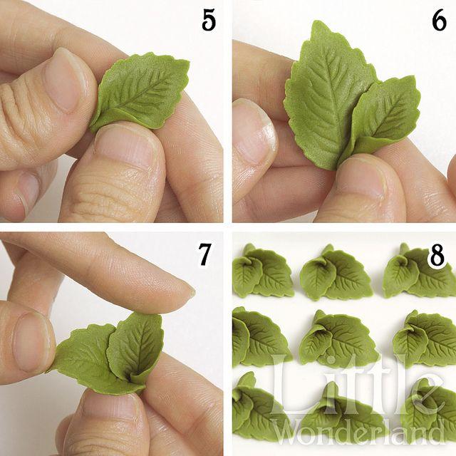 Cómo hacer hojas de menta con pasta de modelar mexicana / How to make mint leaves with mexican modeling paste | Flickr: partage de photos!...