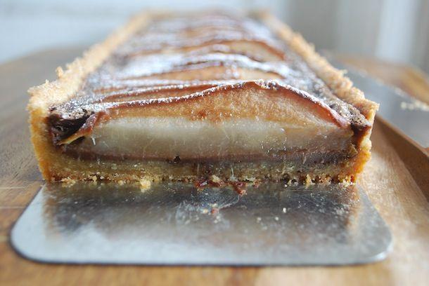 Chocolate Pear Custard Tart with Almond Shortbread Crust